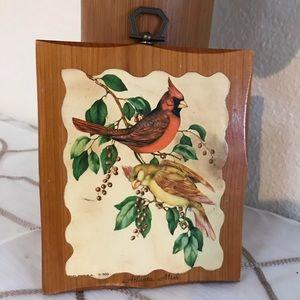 Cardinal decoupaged vintage plaque bohemian